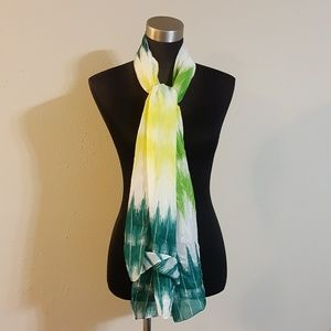 Yellow Green Lime Print Color Scarf Wrap